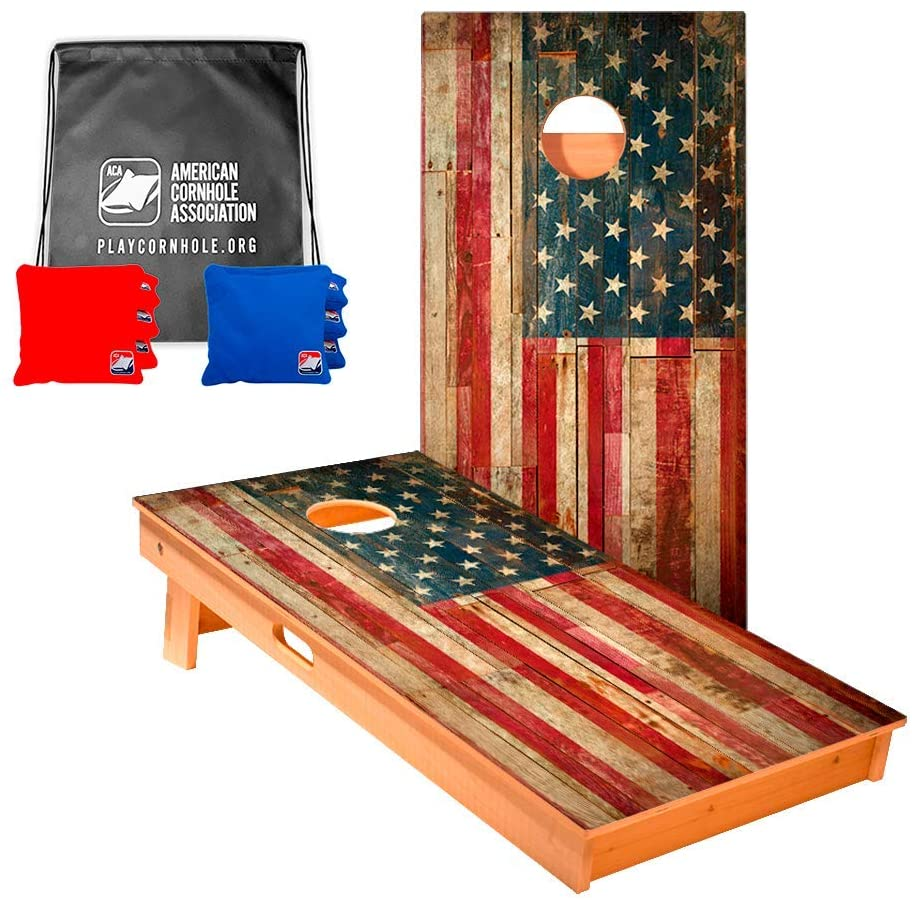 ACA American Cornhole Association Star Patriotic Professional Cornhole Boards with Corn Filled Bags and Nylon Tote