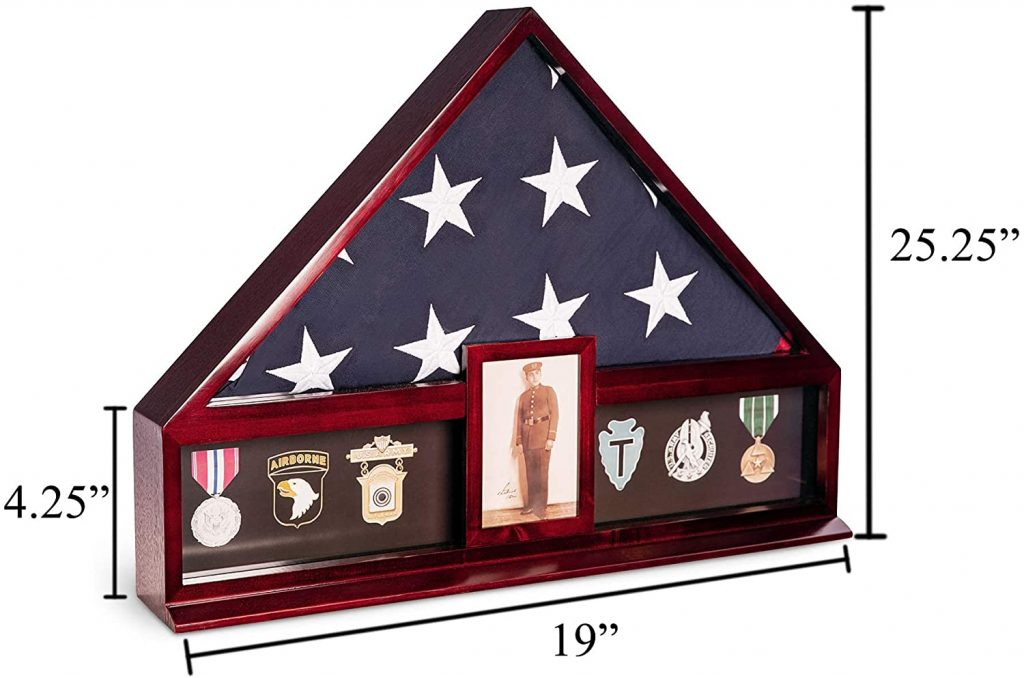 The memorial / burial flag display case allows to store a 9 ft by 5.5 ft American Flag.