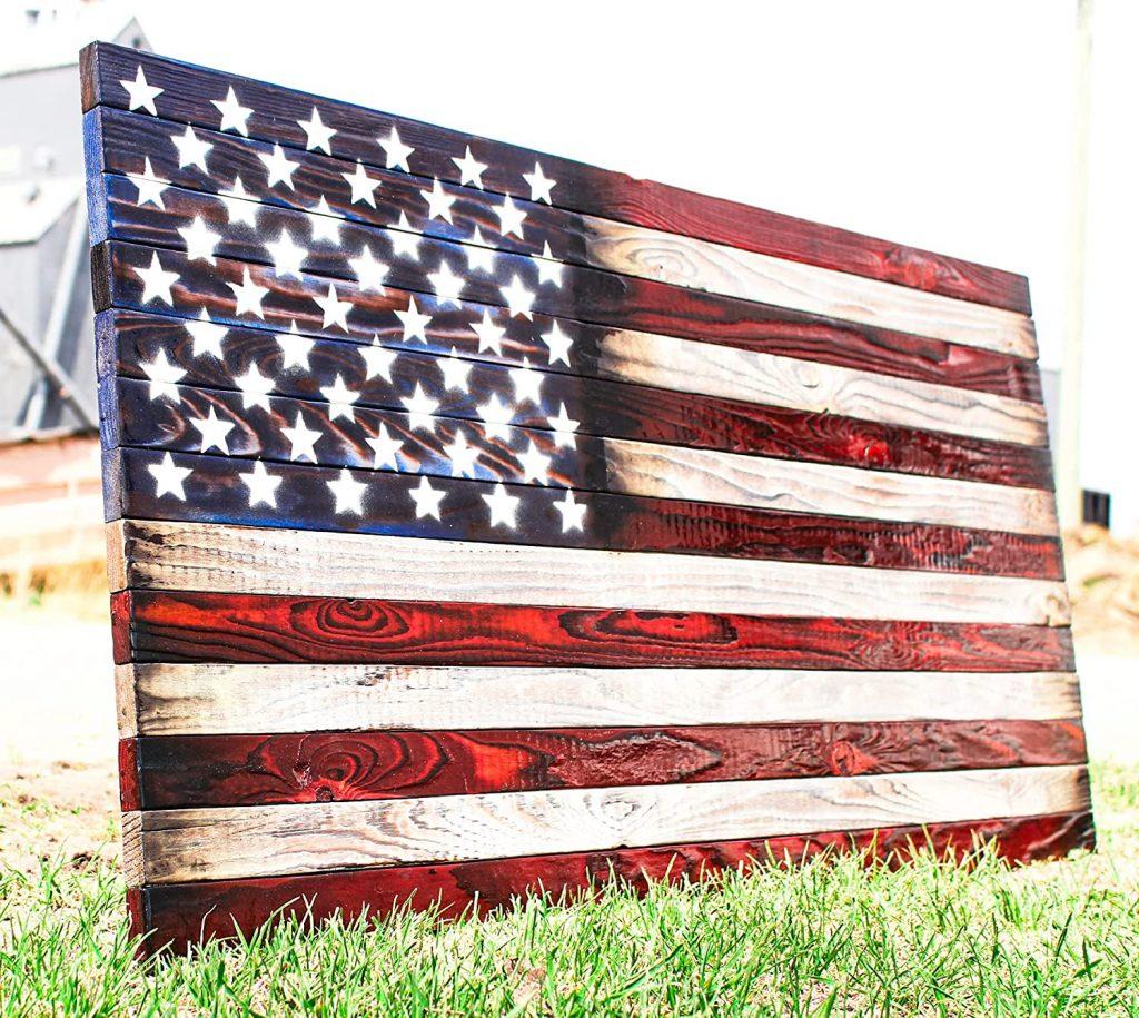 ORIGINAL EDITION Burnt Wood American Flag
