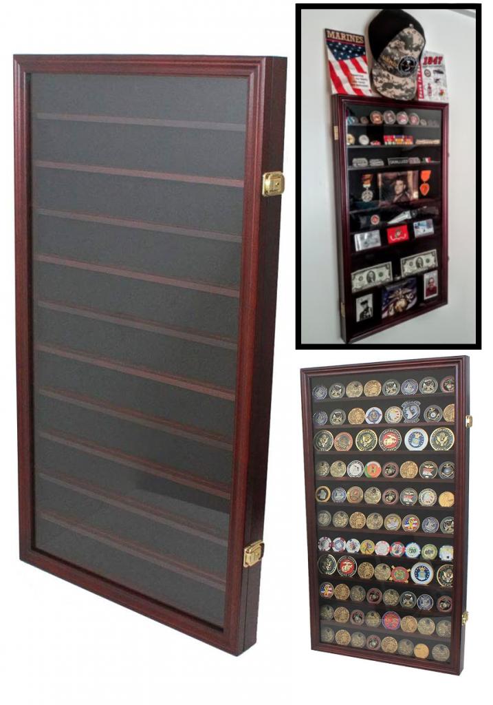 Solid Wood Frame Challenge Antique Coin Display Case Cabinet