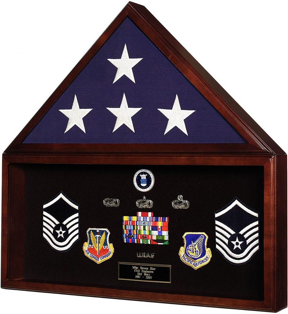 Military Retirement Shadow Box & Memorial American Flag Case Memorabilia Display Case Made In America